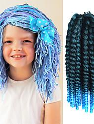 "Black Ombre Light Blue 12"" Kid's Kanekalon Synthetic 2X Havana Mambo Twist 100g Hair Braids with Free Crochet Hook"