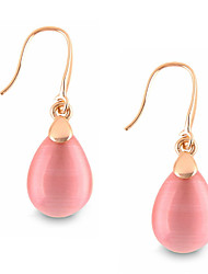 Fashion Temperament Water Droplets Shape Transparent Pink Opal  Earrings