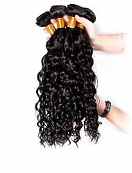 4pcs Brazilian Hair Bundles Weaves Natural Black Curly Weft 100% Unprocessed Brazilian Human Hair Weft
