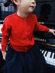 Girl's Casual/Daily Solid Sweater & Cardigan,Cotton Spring / Fall Black / Blue / Red