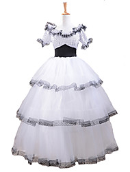 Outfits Classic/Traditional Lolita Lolita Cosplay Lolita Dress White / Black Patchwork Short Sleeve Long Length Dress / Hat For Women Southern Belle