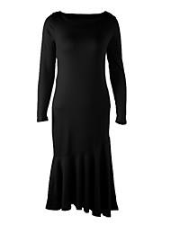 Women's Work Dress,Solid Crew Neck Knee-length Long Sleeve Blue / Red / Black Fall