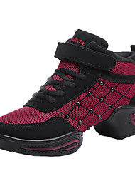 Non Customizable Women's Dance Shoes Dance Sneakers / Modern  Flat Heel Black / Red / White /