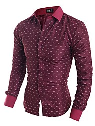 Men's Long Sleeve Shirt,Cotton Casual / Work Print