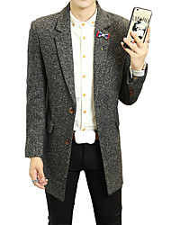 2016 new winter men's slim long Korean woolen coat lapel male boom in leisure