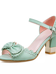 Women's Shoes Leatherette Chunky Heel Heels Sandals Wedding / Party & Evening / Dress / Casual Green / Pink