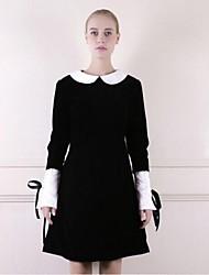 To My Fair Lady® Women's Peter Pan Collar Long Sleeve Above Knee Dress-1403034
