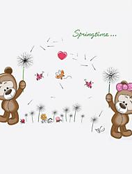 Children's Bedroom Springtime Bear Dandelion Wall Stickers DIY Kindergarten Kids Living Room Wall Decals