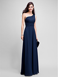TS Couture Prom Formal Evening Dress - Elegant Sheath / Column One Shoulder Floor-length Chiffon with Beading