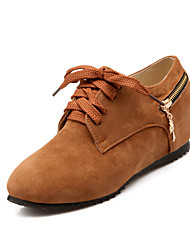 Women's Shoes Fleece Summer/ Round Toe Heels Outdoor / Casual Wedge Heel Zipper Black / Yellow / Almond