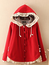 Women's Casual/Daily Simple Coat,Solid Hooded Long Sleeve Winter Multi-color Wool Medium