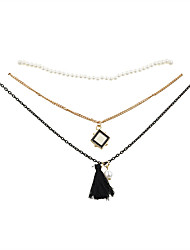 Women's Choker Necklaces Pendant Necklaces Resin Gold Plated Fabric Alloy Fashion Vintage Black Jewelry Wedding Party Daily Casual 1set