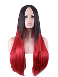 Harajuku Black Red Ombre Wig Pelucas Pelo Straight Natural Synthetic Wigs Heat Resistant Halloween Perruque Cosplay Wigs