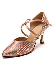 Non Customizable Women's Dance Shoes Leather Leather Latin Heels Stiletto Heel Beginner / Professional Red / Gold