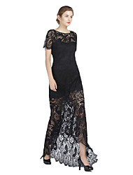 A-Fu Formal Evening Dress - See Through Sheath / Column Jewel Asymmetrical Lace Charmeuse with Lace