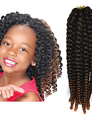 "Black Ombre Light Brown 12"" Kid's Kanekalon Synthetic 2X Havana Mambo Twist 100g Hair Braids with Free Crochet Hook"
