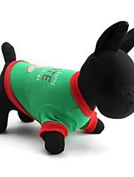 Коты / Собаки Футболка Зеленый Одежда для собак Весна/осень Рождество Рождество