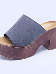 Women's Summer Platform Suede Casual Chunky Heel Black / Gray