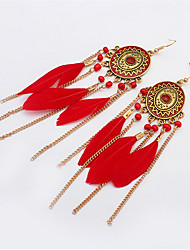 Bohemian Fashion Feather Earrings Discs