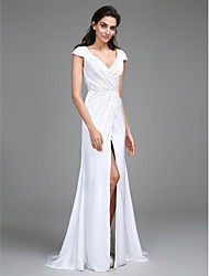 Lanting Bride® Sheath / Column Wedding Dress Sweep / Brush Train V-neck Satin Chiffon with Beading / Side-Draped / Split