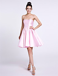 Lanting Bride Knee-length Satin Bridesmaid Dress A-line Strapless with