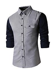 Men's Patchwork Casual / Formal Shirt,Cotton Long Sleeve Blue