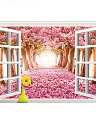 3D Romance Pink Cherry Blossoms Flowers Landscape 3D Wall Stickers Fashion False Window Bedroom Kitchen Wall Decals