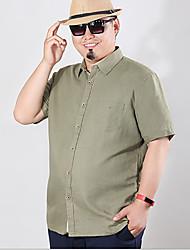 Men's Solid Casual Shirt,Linen Short Sleeve Blue / Green