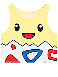 Inspired by Pocket Monster Ash Ketchum Anime Cosplay Costumes Cosplay Tops/Bottoms Print Yellow Sleeveless Vest