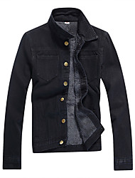 Winter men's Denim casual jacket Japanese youth slim minimalist black coat and velvet thick denim jacket