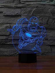 Well-favored 3D Visualization Nightlights Super Hero Man Shape LED Table Lamp Color-Changing Night Light