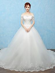 Ballkleid Hochzeitskleid Kathedralen Schleppe Schulterfrei Tüll mit Perlstickerei
