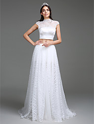 LAN TING BRIDE A-line Wedding Dress Two-in-One Sweep / Brush Train High Neck Lace Organza Satin with Button Split