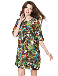 Women's Party/Cocktail Vintage / Boho A Line / Chiffon Dress,Floral Round Neck Knee-length ½ Length Sleeve Green Cotton