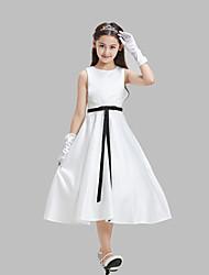 A-line Tea-length Flower Girl Dress - Cotton / Lace / Satin Sleeveless Jewel with