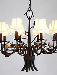 8 Heads Personality Creative Rustic Resin Bird with Pine Cones Chandelier Lamp Decorate for the House Chandelier Light