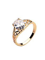 Korean fashion zircon ring lady copper material gilt platinum, gold rose gold ring