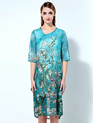 Mary Yan & Yu  Women's Going out Sophisticated Loose Dress,Floral Asymmetrical Knee-length ½ Length Sleeve Blue Linen