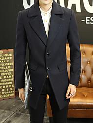 JISNEYMen's Solid Casual / Work / Formal / Plus Sizes Coat,Nylon Long Sleeve-Black / Blue / Red