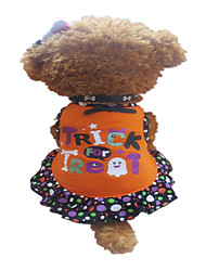 Dog Dress Orange Dog Clothes Summer Polka Dots / Hearts