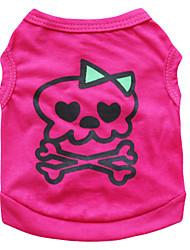 Chat Chien Costume Tee-shirt Rouge Rose Vêtements pour Chien Eté Crânes Mode Cosplay Halloween