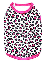 Katzen / Hunde T-shirt Schwarz / Rose Hundekleidung Sommer Leopard Modisch