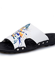 Men's Slippers & Flip-Flops Clogs & Mules Summer Slippers PU Casual Flat Heel Others Black White Walking