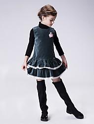 Vestido Chica de-Casual/Diario-Un Color-Algodón-Primavera / Otoño-Verde