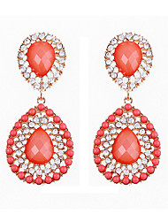 Peach Red Restoring Ancient Ways Big Drops of Water Earrings