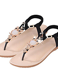 Women's Shoes Synthetic Flat Heel Flip Flops Sandals Dress / Casual Black / Blue / Beige