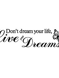 Fashion The Live your dreams Pattern PVC Bathroom or Bedroom or Glass Wall Sticker Home Decor