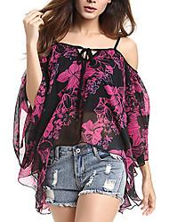 Women's Print Yellow / Purple Blouse,Strap ½ Length Sleeve