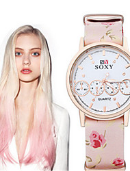 SOXY® Lady's Flower Leather Band White Case Analog Quartz Dress Watch(NO Water Ressistant)
