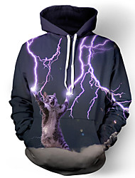 3D Hoodies Cat Lightning Print Front Pocket Loose Fit Drawstring Hooded Long Sleeve For Male/Female